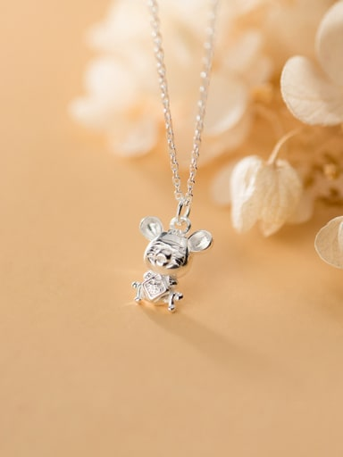 925 Sterling Silver With Platinum Plated Cute Mouse Necklaces