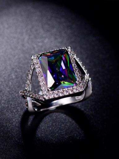 Colorful Rectangle Zircon Statement Ring