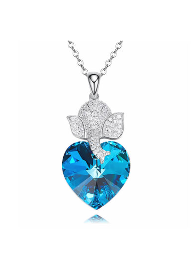 Fashion Little Zirconias Elephant Swarovski Crystal Heart 925 Silver Pendant