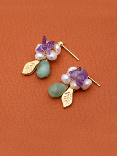 Exquisite Artificial Pearl Leaf Shaped Earrings