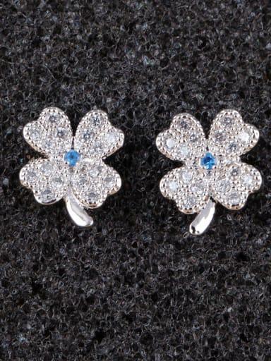 Spinel Blue Leaves S925 Sterling Silver Ear Needle stud Earring