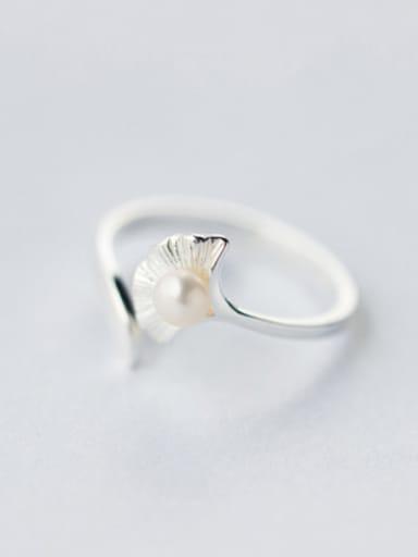 Temperament Open Design Leaf Shaped Artificial Pearl Ring