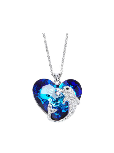 Fashion Heart shaped Swarovski Crystal Dolphin Necklace