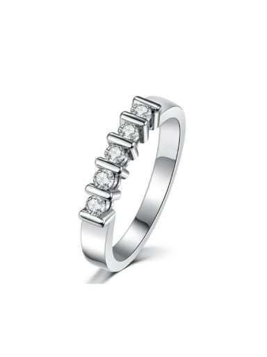 Simple White Gold Plated Women Copper Ring