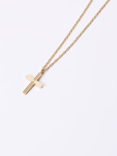 Titanium With Gold Plated Simplistic Smooth Cross Necklaces