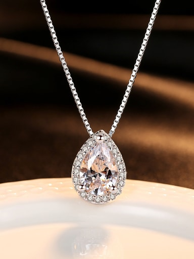 Sterling Silver classic zircon water Drop Necklace