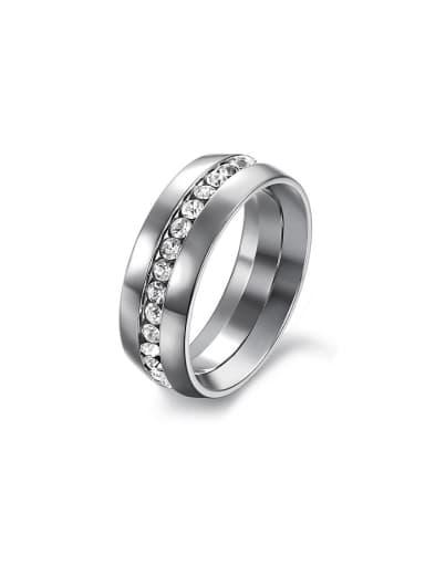 Fashion Cubic Rhinestones Titanium Men Ring