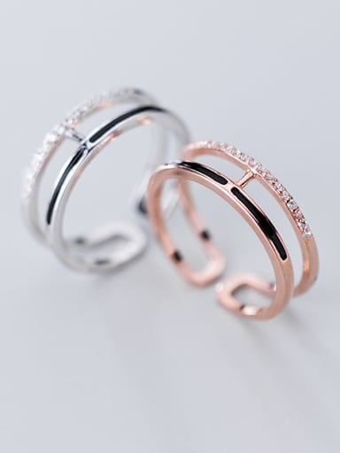 925 Sterling Silver With Cubic Zirconia  Simplistic Double layer free size  Rings
