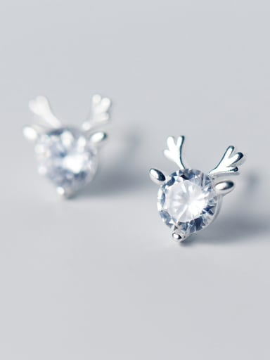 Shimmering Deer Shaped Zircon S925 Silver Stud Earrings