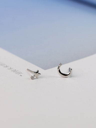 Simple Tiny Moon Star 925 Silver Stud Earrings
