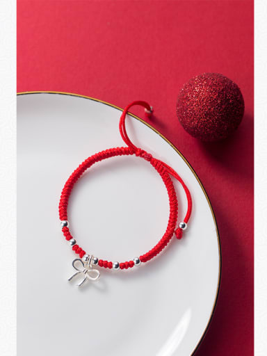 Sterling silver sweet Bowknot hand-woven red thread bracelet
