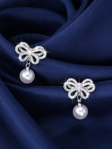 Copper With Platinum Plated Cute Bowknot Stud Earrings