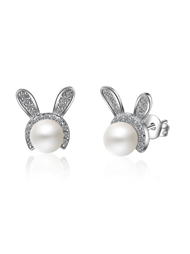 Personalized Little Bunny Imitation Pearl Stud Earrings