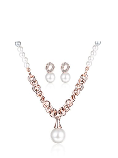 Elegant Rose Gold Plated Artificial Pearl Geometric Two Pieces Jewelry Set