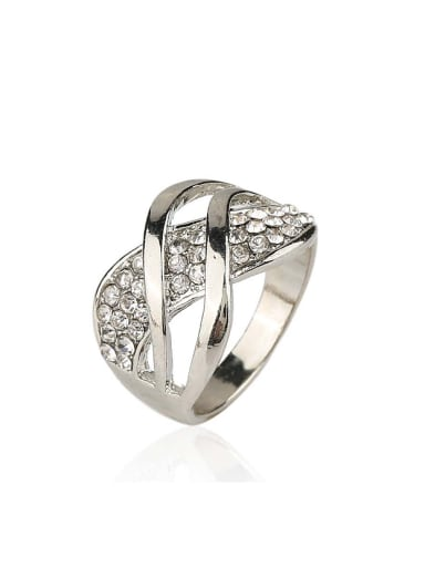 Fashion White Crystals Plating Alloy Ring