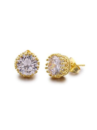 18K Gold Plated Round Shaped Zircon Stud Earrings
