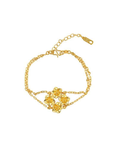 Copper Alloy 23K Gold Plated Ethnic style Flower Bracelet