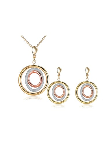 Delicate Three Color Round Shaped Two Pieces Jewelry Sets