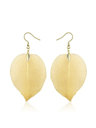 Women Gold Plated Leaf Shaped Alloy Drop Earrings