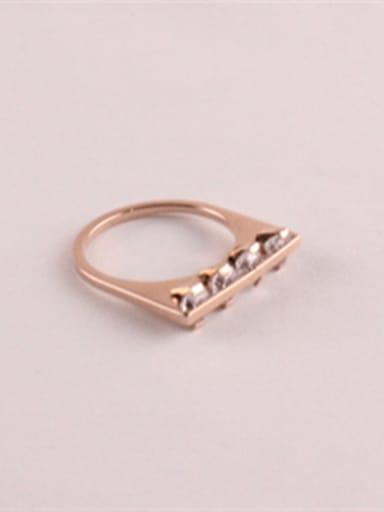 Simple Single Line Zircons Fashion Ring