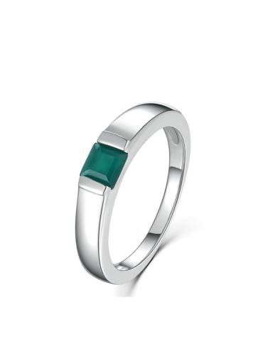 Natural Agate Simple Style Platinum Plated Silver Ring