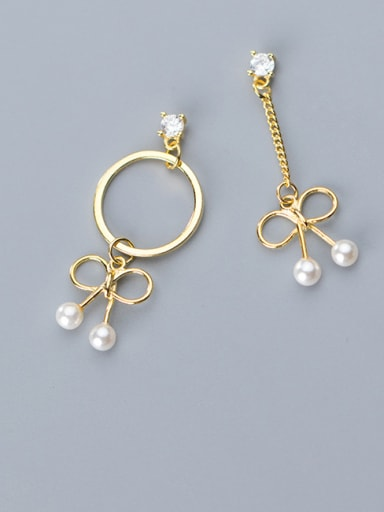 925 Sterling Silver With Artificial Pearl  Personality Bowknot Drop Earrings