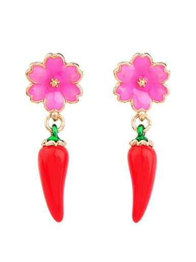 Enamel Flower Pepper drop earring
