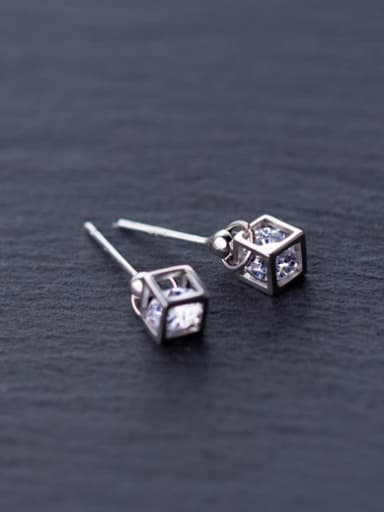 S925 Tremella nail Mori sweet female diamond love Rubik's cube short ear E3003 cuff earring