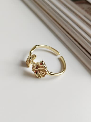 Sterling Silver gold roses free size  rings