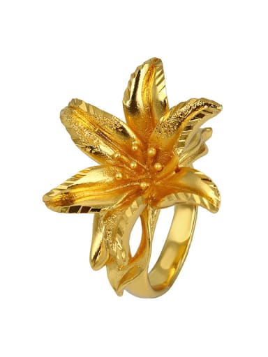 Copper Alloy 24K Gold Plated Classical Flower Opening Statement Ring