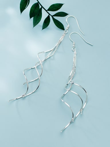 925 Sterling Silver With Platinum Plated Simplistic Lline Threader Earrings