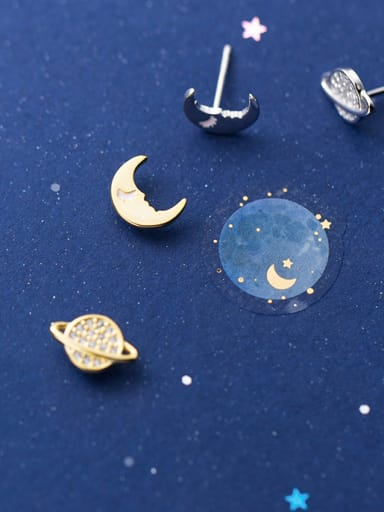 925 Sterling Silver With Silver Plated Cute Cosmic Moon Stud Earrings