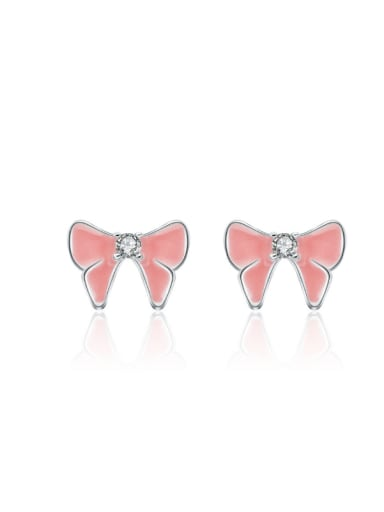Colorful Pink Glue Butterfly Bow Shaped Stud Earrings