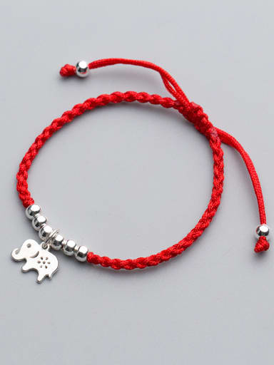 925 Sterling Silver With Silver Plated Cute and  elephant with silver beads red rope Add-a-bead Bracelets
