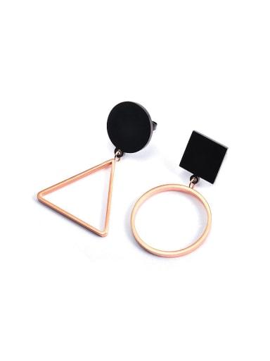 Asymmetrical Geometrical Black Titanium Stud Earrings