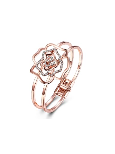 Simple Style Fashion Rose Gold Hollow Bangle