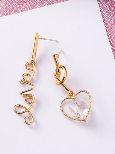 Alloy With Imitation Gold Plated Simplistic Heart Drop Earrings