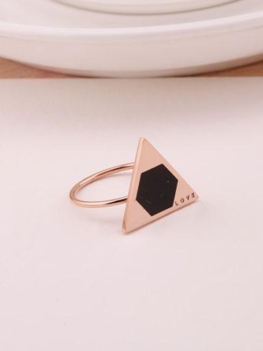 Triangle Black Agate Fashion Ring