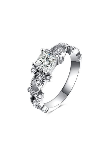 All-match White Gold Plated Zircon Ring
