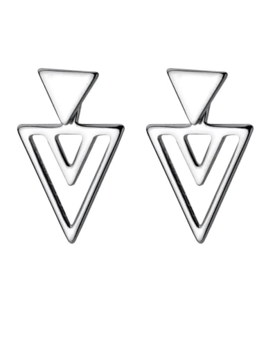 925 Sterling Silver With Platinum Plated Simplistic Hollow Triangle Stud Earrings