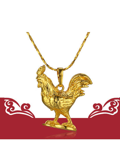 2018 Copper Alloy 24K Gold Plated Ethnic style Zodiac Rooster Necklace