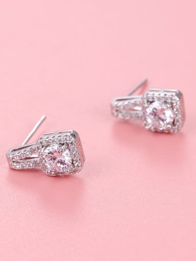 Copper With Platinum Plated Simplistic Geometric Stud Earrings