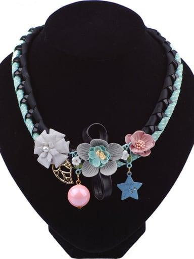 Fashion Handmade Cloth Flowers Woven Ribbon Necklace