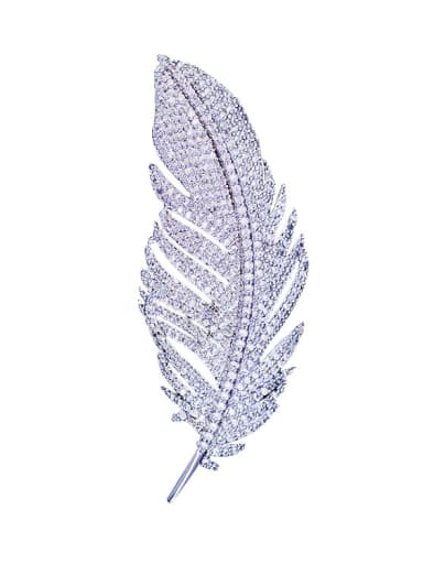 Copper With Micro-inlay Cubic Zirconia Luxury Leaf Brooches