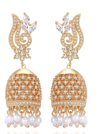 Copper With Champagne Gold Plated Exaggerated Statement Party Chandelier Earrings