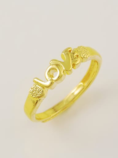 Creative Monogrammed Shaped 24K Gold Plated Copper Ring