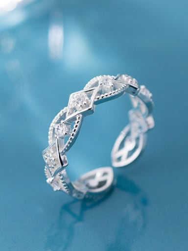 925 Sterling Silver With Cubic Zirconia Fashion Geometric Band Rings