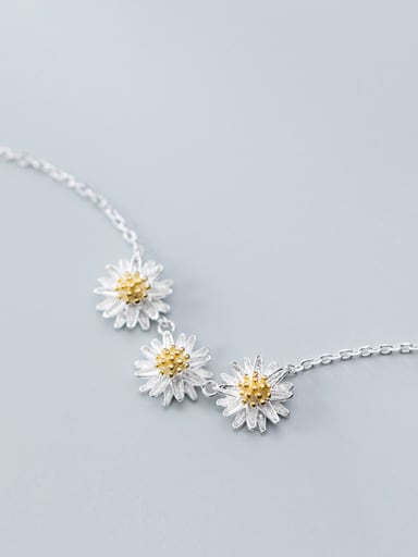 925 Sterling Silver With Platinum Plated Cute Flower Necklaces