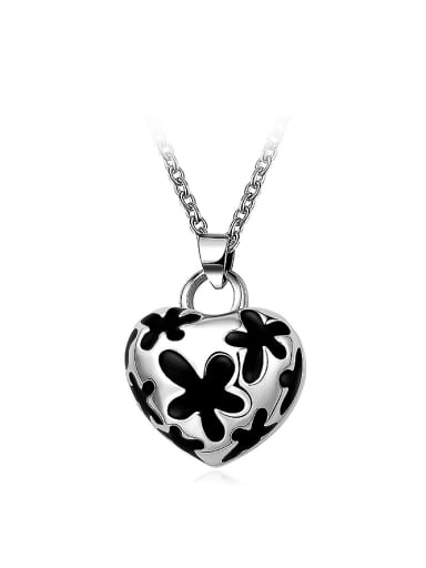 Exquisite Heart Shaped Stainless Steel Painting Necklace
