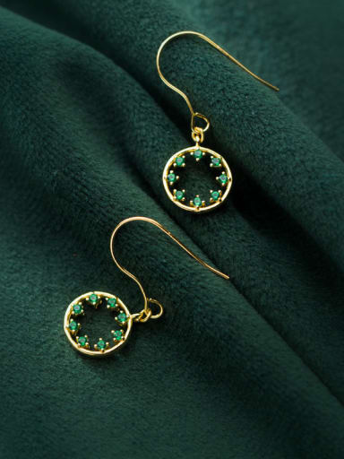 925 Sterling Silver With Silver Plated Simplistic Hollow Round Hook Earrings